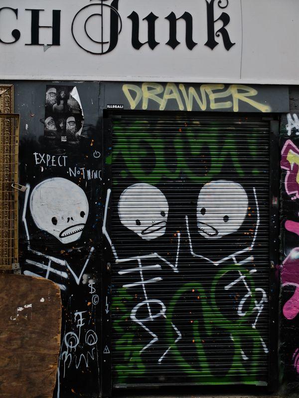 Shutter on Shoreditch Junk painted by Skeleton Cardboard